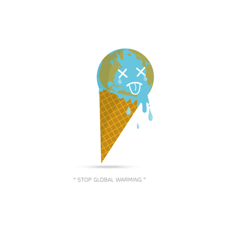 Earth Cream Cone Save The Planet Poster Concept. Stop global warming. cartoon character of Planet earth  on white background vector illustration.