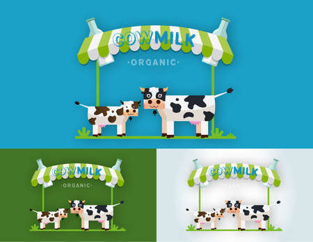 Set of Cow Milk Farm  design vector template. Label, sticker, icon. Symbol for milk and skim. Web graphics, banners, advertisements, brochures, business templates. Isolated on a blue background