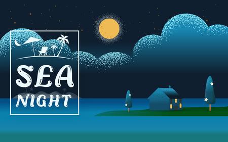 Beautiful horizontal Nature landscape. night scene landscape in Beach sea with villa  hotel seaside concept  Summer offers Vector texture style vector illustration. Ilustração