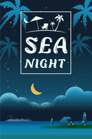 Beautiful vertical Nature landscape. night scene landscape in Beach sea with villa hotel seaside concept Summer offers Vector texture style vector illustration.