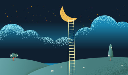 A ladder reaching up to the moon against on night scene beautiful vertical Nature landscape, frame and space for text on sky background Vector texture style concept illustration.