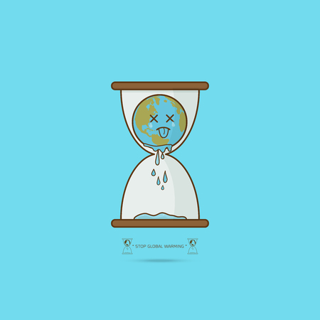 Stop global warming. cartoon character of Planet earth in hourglass limited time concept on blue background vector illustration.