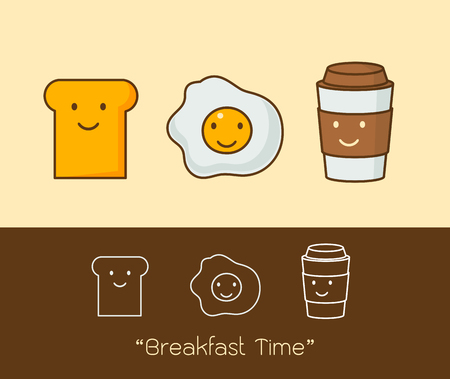 Best friends. Breakfast. Good morning. set of Cute picture cartoon icon of a coffee, eggs and toast. Vector illustration.