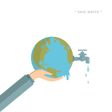 Water world day with hand hold faucet or water tap with a drop of water out to earth and save water text vector design illustration