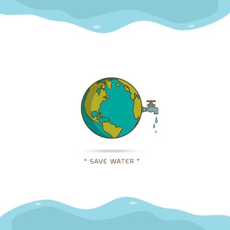 Día mundial del agua con grifo de mano o grifo de agua con una gota de agua a la tierra y ahorre agua ilustración de diseño de vector de texto