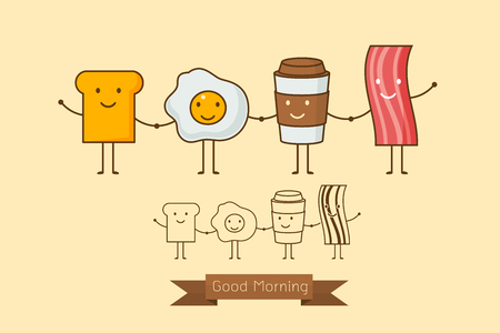 Best friends. Breakfast. Good morning. set of Cute picture cartoon icon of a coffee, eggs,ham and toast. Vector illustration.