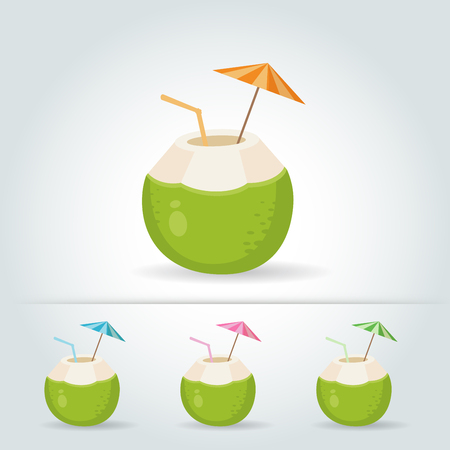 Set of Fresh drinking coconut with a straw, cocktail umbrella on white background Vector illustration
