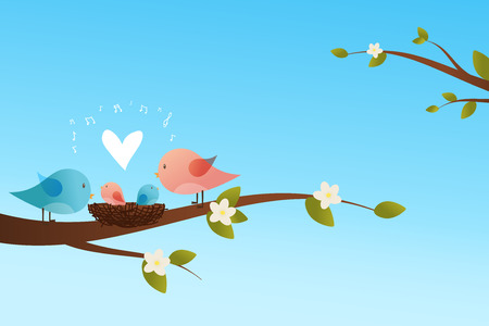 Cute birds family and a baby bird in a nest sitting on a floral branch  on sky background Vector illustration