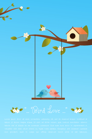 Couple of birds in love bird cartoon character.Bird on a branch.Cute Bird on a swing chair.Vector illustration on sky background.