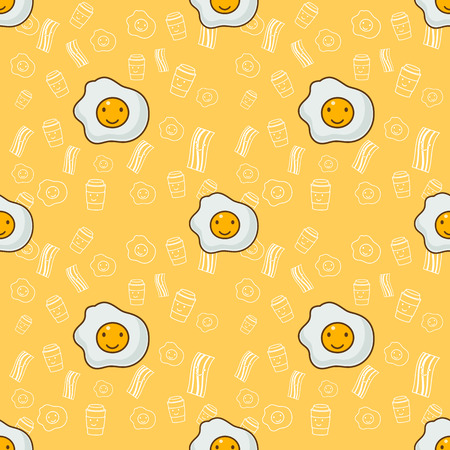 Vector morning  Best friends breakfast seamless pattern with scrambled eggs, toasts and bacon. Cartoon illustration on yellow background. Ilustração