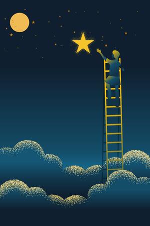 Frau auf einer Leiter, die bis zum Erreichen des Sterns gegen die Nachtszene reicht schöne vertikale Naturlandschaft, Rahmen und Platz für Text auf Himmelshintergrund Vektortextur-Stilkonzeptillustration