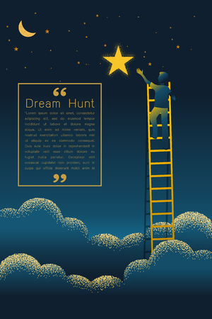 Man on a ladder reaching up to reaching star against on night scene beautiful vertical Nature landscape, frame and space for text on sky background Vector texture style concept illustration