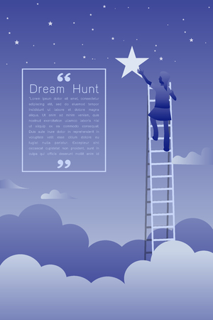Woman on a ladder reaching up to reaching star against on night scene beautiful vertical Nature landscape, frame and space for text on sky background Vector flat modern linear style concept illustration