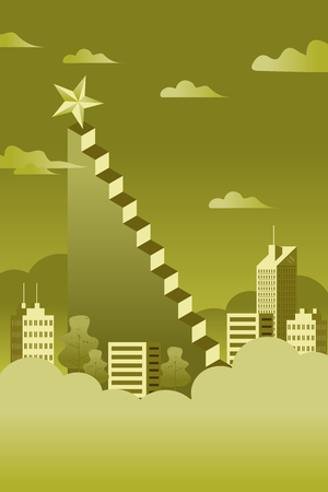 A ladder reaching up to reaching star against on cityscape scene beautiful vertical Nature landscape, frame and space for text on sky background Vector flat modern linear style success concept illustration