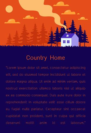 Schönes Haus, Reihe von Häusern am Hügel mit Bäumen, Naturlandschaft, Dorflandschaftsszene moderne flache Designvektorillustration