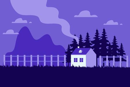 Schönes Haus, Reihe von Häusern durch den Hügel mit Bäumen, Naturlandschaft, Dorflandschaftsszene moderne flache Designvektorillustration Vektorgrafik
