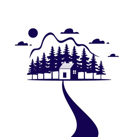 casa de campo o icono de inicio azul para agencia de bienes raíces o símbolo de la ecología . símbolo de vector aislado para casa de campo en el bosque verde o elementos forestales para la industria del diseño del parque Ilustración de vector