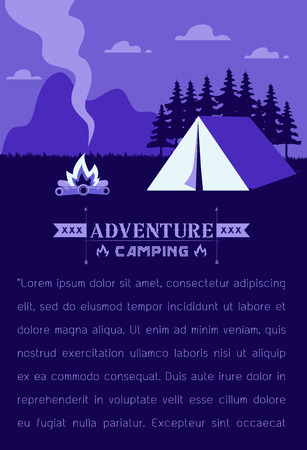Beautiful vertical Nature  landscape. Morning landscape in the mountains. Solitude in nature by the hill. Weekend in the tent. Hiking and camping flat modern linear style Vector Flat style concept illustration.