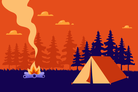 Beautiful horizontal Nature landscape. night landscape in the mountains. Solitude in nature by the hill. Weekend in the tent. Hiking and camping flat modern linear style Vector Flat style concept illustration.