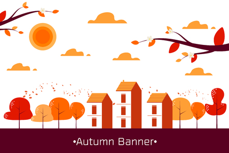 Banner of Autumn  landscape with mountains , trees  fall leaves and village vector illustration Ilustrace