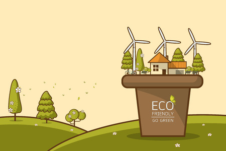 Vector illustration of eco home with of wind turbine, bike , solar cell ,house, and trees. Background for save earth day. Environmental, ecology, nature protection and pollution concept. Illusztráció