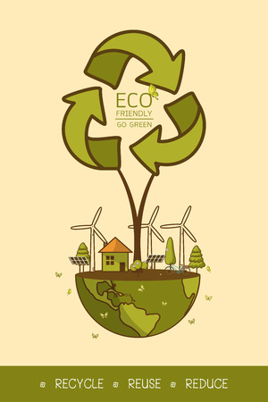 Vector illustration of eco home with of wind turbine, bike , solar cell ,house, and trees. Background for save earth day. Environmental, Recycle sign for ecology, nature protection and pollution concept.