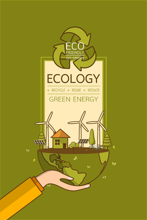 World Environment Day. Vector illustration with hands holding the earth globe and wind turbine, bike , solar cell ,house, and trees. Concept for posters, greeting card, ecology, recycling and nature. Illusztráció