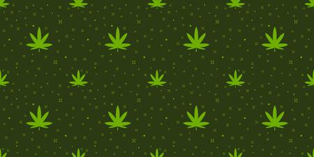 Cannabis seamless pattern. Marijuana floral pattern. Flat leaf of weed cannabis leaf with magic sparkle isolated repeat wallpaper til. Marijuana design element seamless for fabric vector illustration. Illusztráció