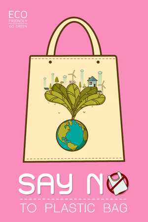 Say no to plastic, use cloth bags, World environment day, cute cartoon style concept. Green Ecology Earth Vector illustration