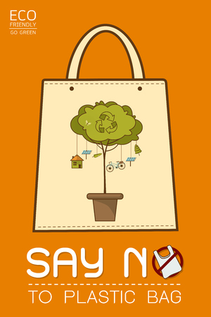 Say no to plastic, use cloth bags, World environment day, cute cartoon style concept. Green Ecology Earth Vector illustration.