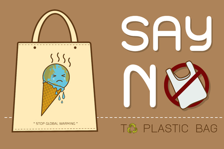 Eco Fabric Cloth Bag Tote with text Say no to plastic bags poster. Disposable cellophane and polythene package prohibition sign. Pollution problem concept Vector illustration Illusztráció