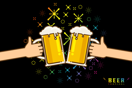Cute cartoon Flat isolated vector illustration of drinking beers. Two hands holding and clicking with glass and mug beer, cheers. Party celebration in a pub on black background Vector illustration