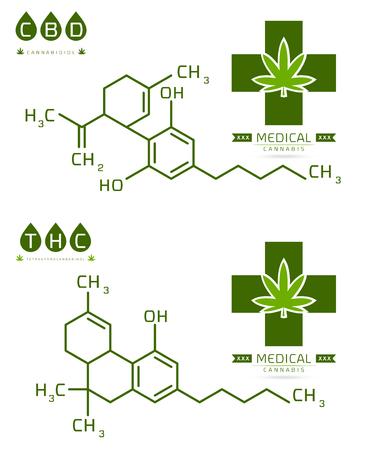 Conjunto de fórmula Thc y cbd. Compuesto de estructura de molécula de cannabidiol y tetrahidrocannabinol. Ilustración de vector de moléculas de marihuana medicinal Ilustración de vector