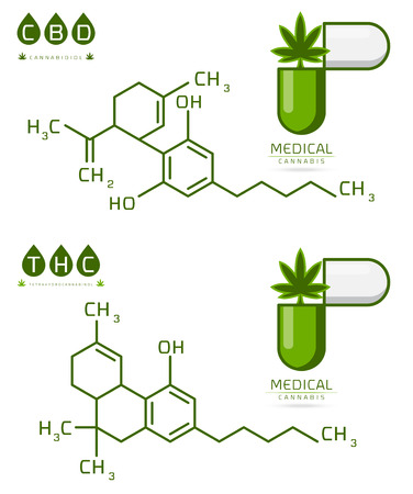 Set of Thc and cbd formula. Cannabidiol and tetrahydrocannabinol molecule structure compound. Medical marijuana molecules vector illustration