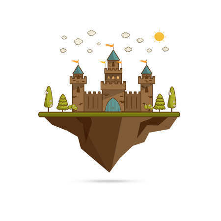 Cute cartoon fantasy fairytale castle in a landscape of a rolling hills vector Illustration