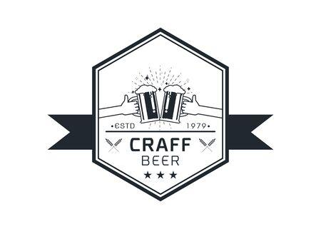 Craft beer logo icon  emblem design. Rough Handmade Alcohol Banner. badge isolated on white background vector illustration Illusztráció
