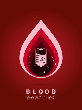 Logotype blood donation, help the sick and needy. dropper with a drop of blood, on red background Vector illustration