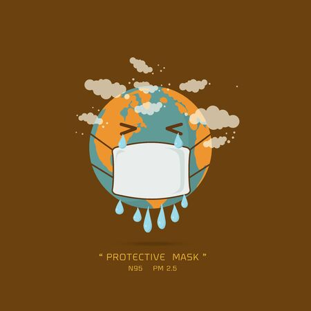 Stop global warming. cartoon character of Planet earth wearing pollution mask concept for air quality vector illustration. Illustration