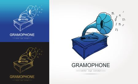 Modern linear thin flat design. The stylized image of gramophone. classic music festival logo Template for covers, logo, posters, invitations on white background Vector illustration