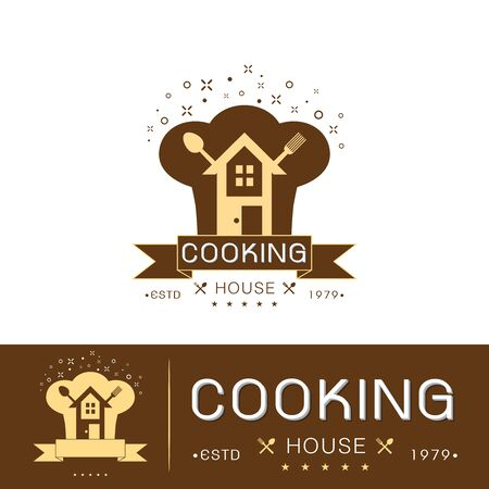 Set of cooking house logo template vector design with chef hat and house on white background vector illustration