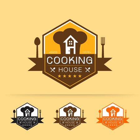 Set of cooking house logo template vector design with chef hat and house on yellow background vector illustration