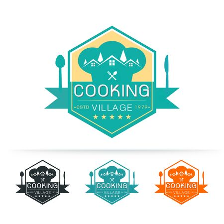 Set of cooking village logo template vector design with chef hat and village on white background vector illustration