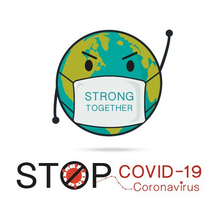 Let's Stop COVID-19, coronavirus in cartoon character of Planet earth wearing pollution mask concept for air quality vector illustration.