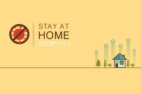 Stay at home slogan ,Protection campaign or measure from coronavirus, COVID 19. Stay home quote text, hash tag or hashtag. Coronavirus, COVID 19 protection logo Vector illustration