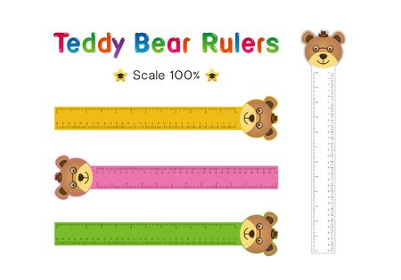 Teddy bear Head of Rulers Inch and metric rulers. Scale for a ruler in inches and centimeters. Centimeters and inches measuring scale cm metrics indicator. Inch and metric rulers Vector isolated set Illusztráció