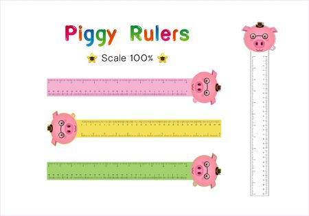 Pig Head of Rulers Inch and metric rulers. Scale for a ruler in inches and centimeters. Centimeters and inches measuring scale cm metrics indicator. Inch and metric rulers Vector isolated set