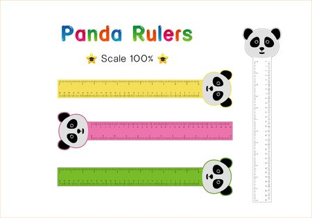 Panda Head of Rulers Inch and metric rulers. Scale for a ruler in inches and centimeters. Centimeters and inches measuring scale cm metrics indicator. Inch and metric rulers Vector isolated set