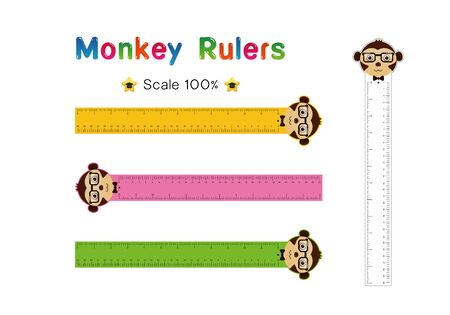 Monkey Head of Rulers Inch and metric rulers. Scale for a ruler in inches and centimeters. Centimeters and inches measuring scale cm metrics indicator. Inch and metric rulers Vector isolated set