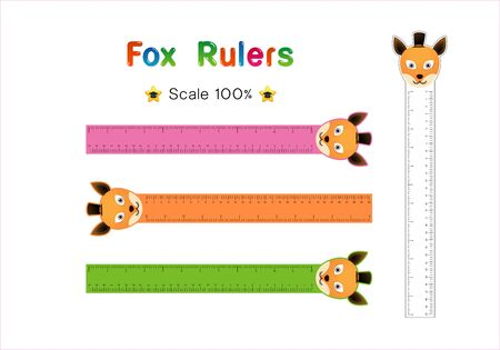 Fox Head of Rulers Inch and metric rulers. Scale for a ruler in inches and centimeters. Centimeters and inches measuring scale cm metrics indicator. Inch and metric rulers Vector isolated set Illusztráció