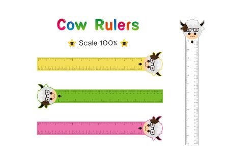 Cow Head of Rulers Inch and metric rulers. Scale for a ruler in inches and centimeters. Centimeters and inches measuring scale cm metrics indicator. Inch and metric rulers Vector isolated set